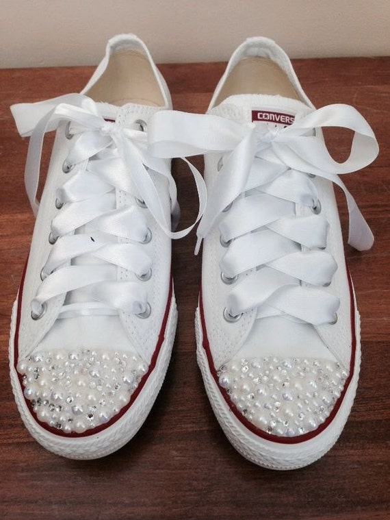 pearl converse bridal converse wedding by cinderswish on etsy. Black Bedroom Furniture Sets. Home Design Ideas