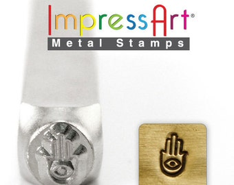 Hamsa Hand, Metal Design Stamp 6 mm Steel Punch ImpressArt, Hand of Miriam, Hand of Fatima, Hand of God, Evil Eye Protection Symbol