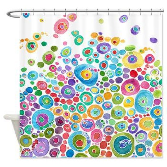 artistic shower curtain inner circle bubbles abstract