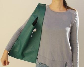 Sac à main en cuir, sac cuir autruche vert émeraude, sac à main,  sac porté épaule, sac shopping, sac design, sac moderne