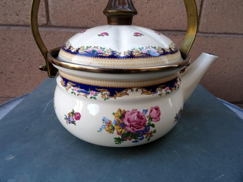 Vintage Asta Enamel Kettle Rose Floral And Scroll Design
