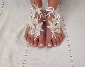 Boho chick Lace Wedding Barefoot Sandals..bride barefoot sandals..yoga anklet..bridesmaid gift..beach wedding