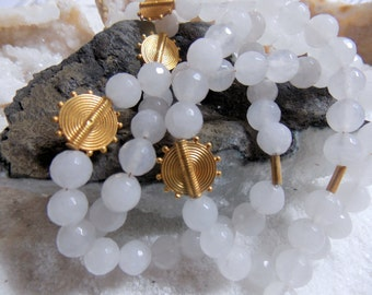 24k Gold Vermeil Ariadne Disc Necklace with Faceted Milky Agate Gemstones - LONG!