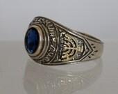 Silver signet ring, Gold Star ring, Gold menorah ring, Judaica signet ring,Blue stone ring, Mens jewelry.