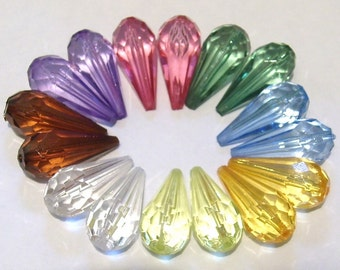 10 x Acrylic Faceted Drop Beads - Mixed 24mm - 5 PAIRS per order -  PB15