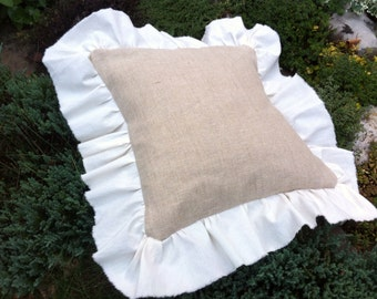 Burlap & Withe Cotton Ruffles Pillow Cover