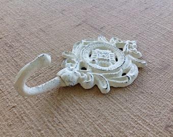 Shabby chic hook - wall hanger - white hook - towel hook