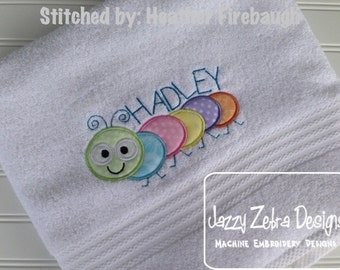 Cute Caterpillar Applique Embroidery Design - bug applique design - caterpillar applique design - baby appliqué design