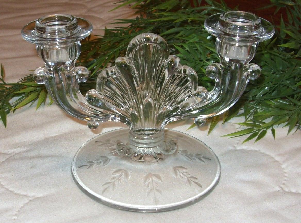 Vintage Glass Art Deco Candle Holder: Glass Double Candle Holder Vintage 1940s Candlestick Holder