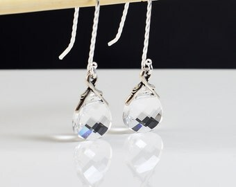Swarovski Crystal Earrings, Twisted Sterling Silver Earrings, Clear Crystal Briolette, Vine Bail