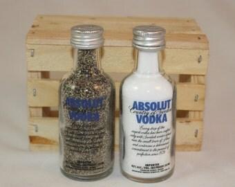 Absolut  Salt & Pepper Shakers, Upcycled Liquor Bottles