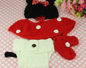 Newborn Baby Girl Crochet Minnie Mouse Earflap Hat Diaper Cover Skirt Bootie Outfit Photography Props