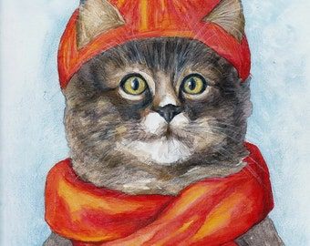 Cat,  lovely cat,  picture, red cap, brown cat, winter, watercolor painting, handpainted, nature, vintage. Tatiana-Art.