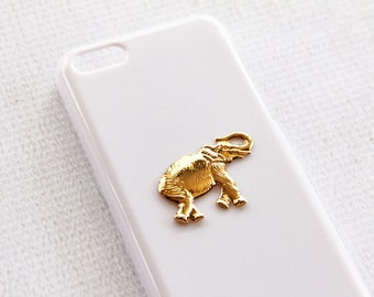 Animal iPhone Case iPhone 5c Cell Phone Cover Case Elephant iPhone 5c Cases Cover Gold White for Her or Him Buddhist Elephant