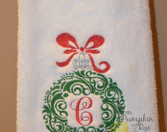Christmas Ornament Personalized Monogrammed Hand Towel