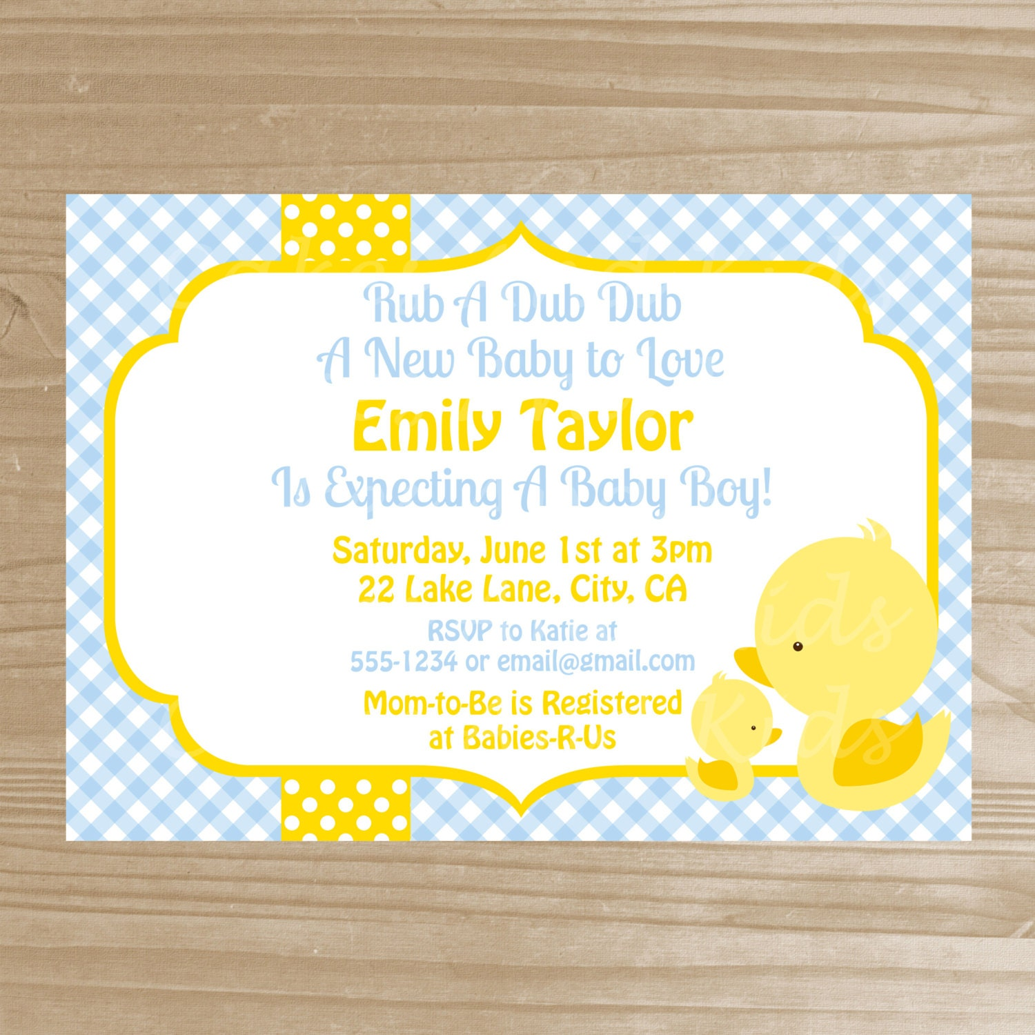 yellow duck baby shower invitation baby by cakesandkidsdesigns