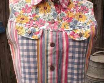 Hang Ten USA Short Denim Jean Vest Size Small Flowers, checks, stripes in  Pink, Yellow, Blue, green.
