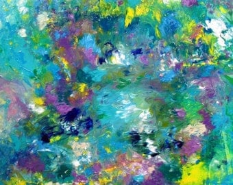 Textured Canvas Art Acrylic Painting ORIGINAL ABSTRACT ART Turquoise Landscape Floral Painting Contemporary Art 24x24x1,5 (60cmx60cmx3,6cm)