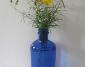 Vintage Blue Glass Bottle Phillips Milk of Magnesia Glenbrook Conn