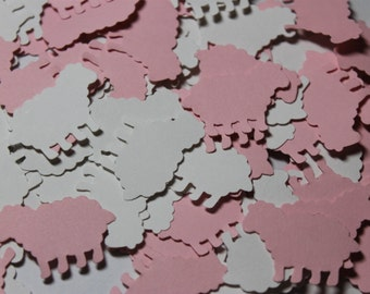 100pc Darling Baby Pink and White Lamb Die Cuts Confetti