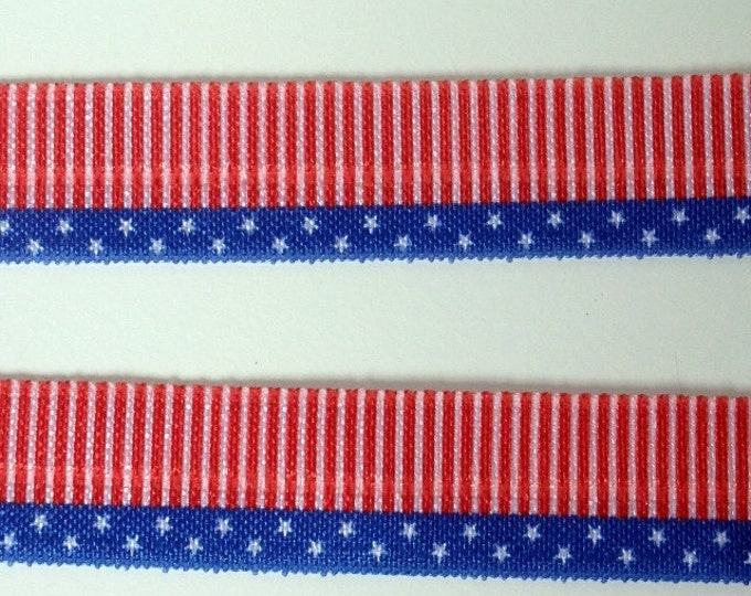 Stars and Stripes Foe Elastic 5/8 inch 16mm for hair ties and headbands