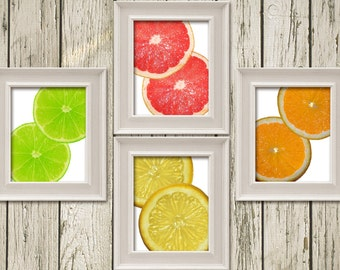 Lime Lemon Orange Grape Fruit Citrus Set of 4 Kitchen Art Printable Instant Download Print Home Decor Wall Art KA140014-15-16-17