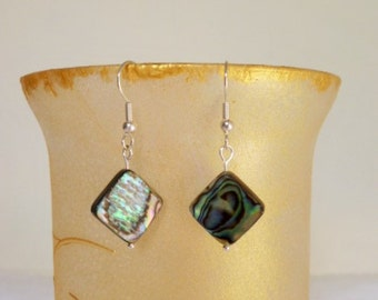 Diamond Shaped Abalone Shell Earrings