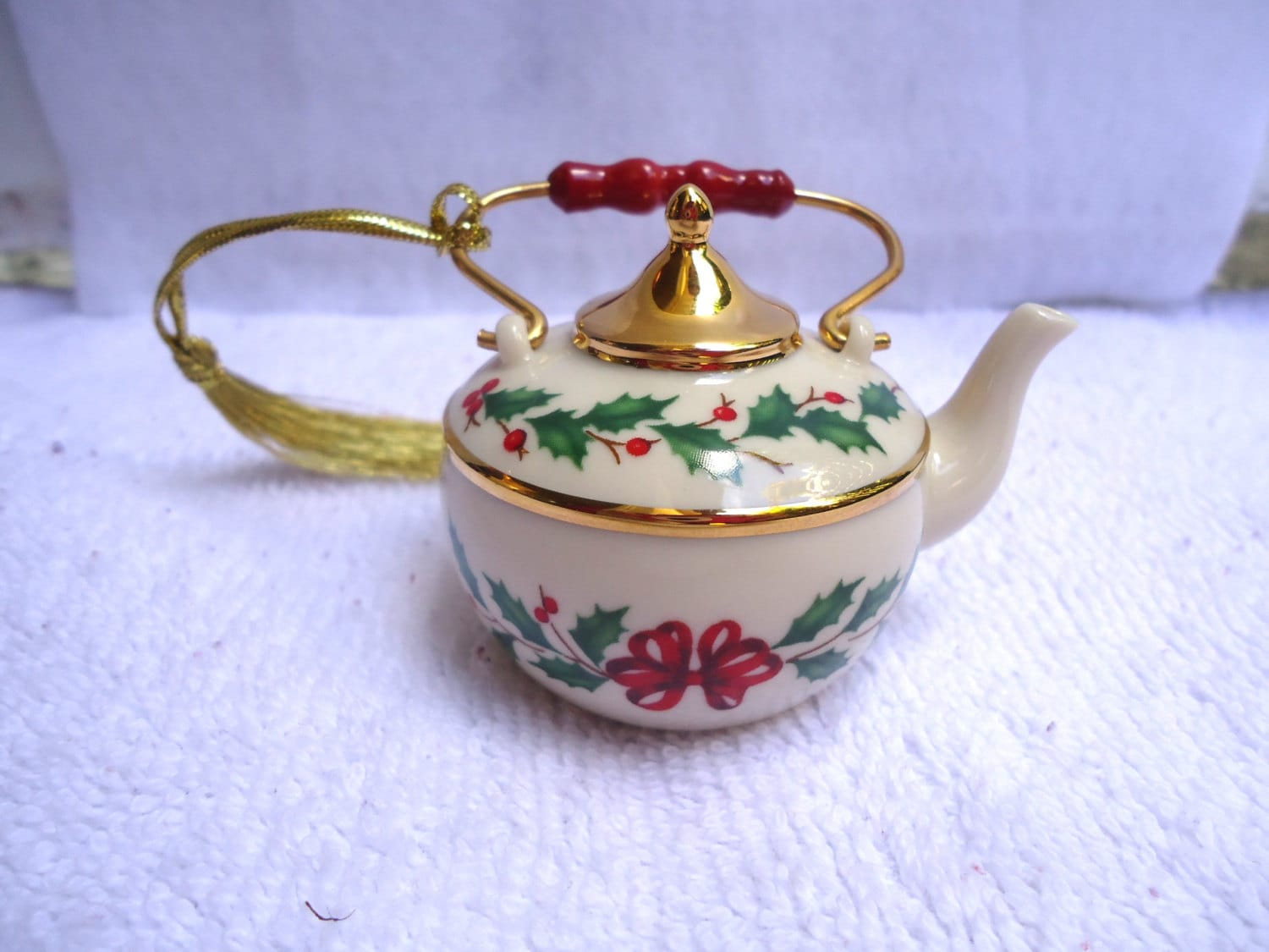 Porcelain Tea Pot Lenox Christmas Ornament By Happybeginning
