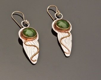 Jade earrings in sterling and 14k gold ~ Artisan