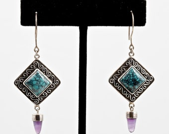 Turquoise 105 - Earrings - Sterling Silver, Turquoise & Amethyst