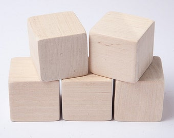 1 1/2 inch (4 cm) Unfinished Wood Blocks for wood crafts, wooden cubes, wood blocks, Great for Baby Showers, set of 10 blocks