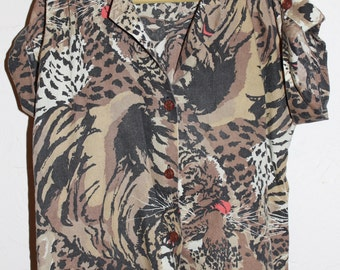 vintage kids cheetah tiger shirt kids tiger button up sz 6