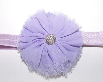 ADJUSTABLE elastic headband with matching rhinestone centered chiffon ballerina flower - Lilac