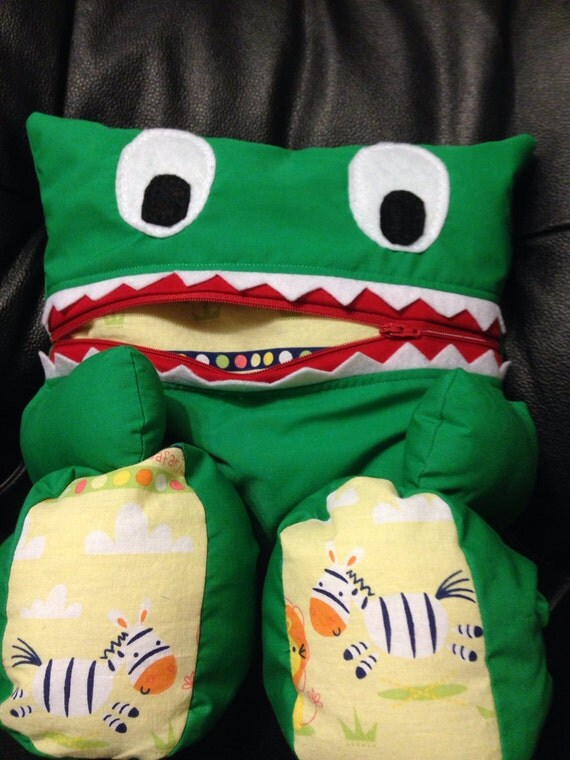 Animal Pillow That Turns Into Pajamas : Pajama Eater A Pajama Bag / Pillow Monster or Animal Green