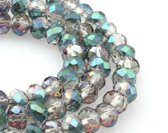 6mm Crystal Vitrail Medium Crystal glass Rondelle  Faceted Beads - about 45pcs (C6064- FikaSupplies)