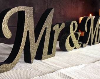 wooden black with gold dust sign mr and mrs wedding signs wooden letters for sweetheart table wedding signswedding decoration