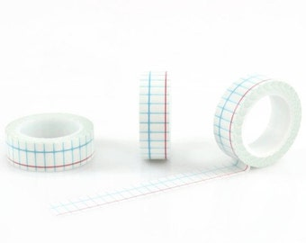 GRID WASHI TAPE - Graph Grid Notebook Paper with Blue and Red Lines Pattern (10 Metre Roll)