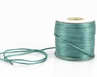 1mm TEAL SATIN STRING - Teal Green Cord (1mm diameter) sold by 5m length