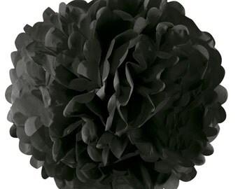 40cm BLACK PAPER POMPOM - Large Black Tissue Paper Pom Pom (40cm / Approx 15 Inches Diameter)