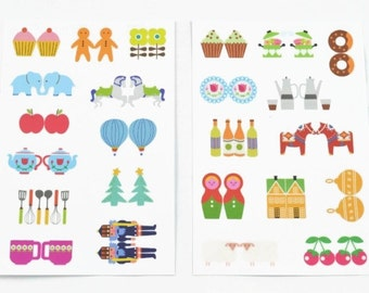 INDEX LABEL STICKERS (Set of 2 Sheets) - Index Label Sticker Sheet Set (9cm x 13.3cm)
