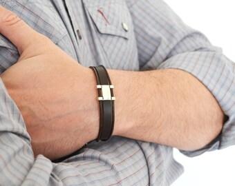 Leather Bracelet. Adjustable Bracelet for Men. Brown Men's Bracelet. Male Jewelry.