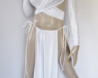 Gorean Slave Role Play Costume-White_ All year-For your Kajira fingerless gloves- ZanzaDesigns