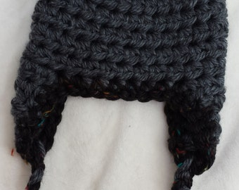 Sale gray black cozy soft and warm earflap toddler hat