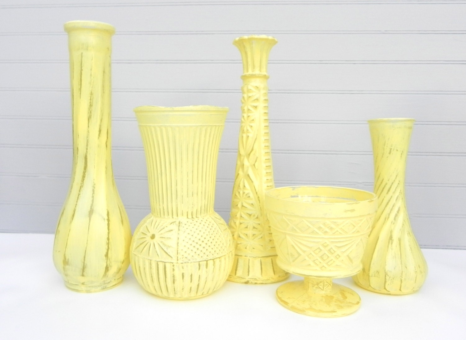 yellow shabby chic vase collection wedding vases by. Black Bedroom Furniture Sets. Home Design Ideas