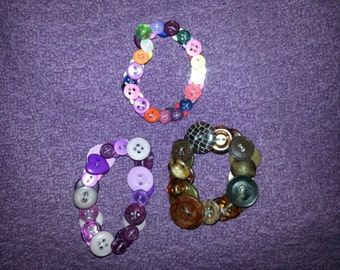 Button Bracelets (Custom Made and Handmade) FREE SHIPPING