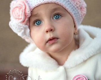 Crochet Beret Hat for Girls Slouchy Hat Baby to Toddler