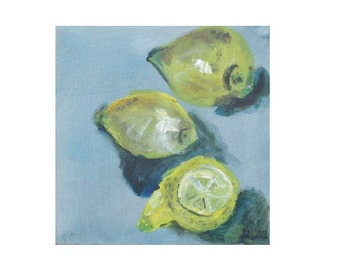 Lemon Original Drawing on Collage / Canvas /  turqouise lemon  free shiping 7,8x7,98 inch