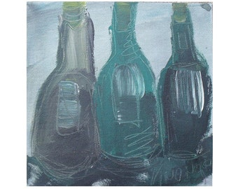 Bottles Original Drawing on Collage / Canvas /  turqouise green  free shiping 7,8x7,98 inch