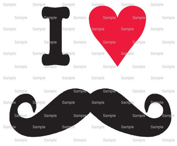 I Love Mustache - Edible Cake and Cupcake Topper For Birthday's and Parties! - D346