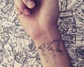 2pcs World Map Love Travel Wrist tattoo - InknArt Temporary Tattoo - quote tattoo body sticker fake tattoo tattoo small